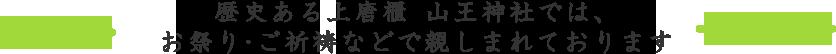 歴史ある上唐櫃 山王神社では、お祭り・ご祈祷などで親しまれております